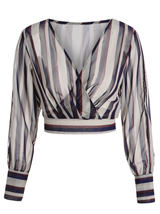 Striped Slit Sleeve Cropped Surplice Blouse - STRIPE L Mobile
