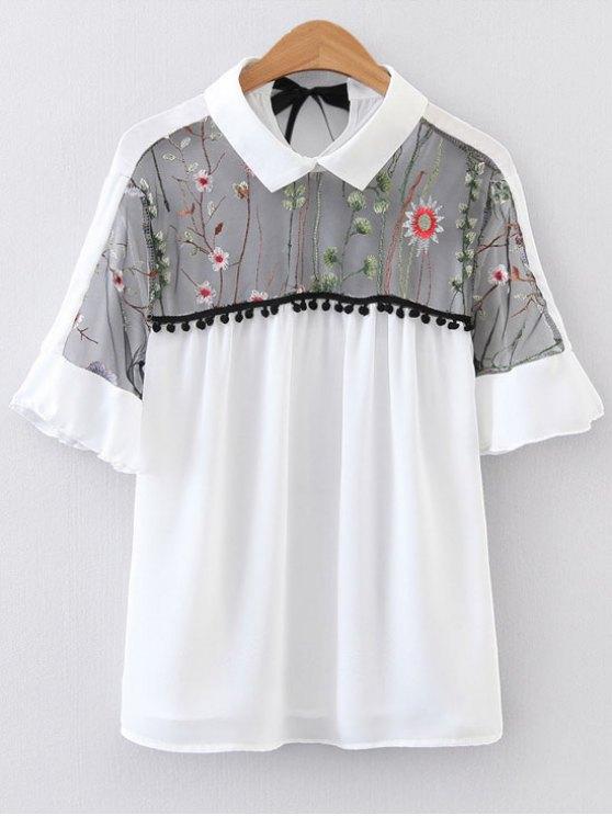 Blusa bordada floral de la blusa del voile - Blanco S