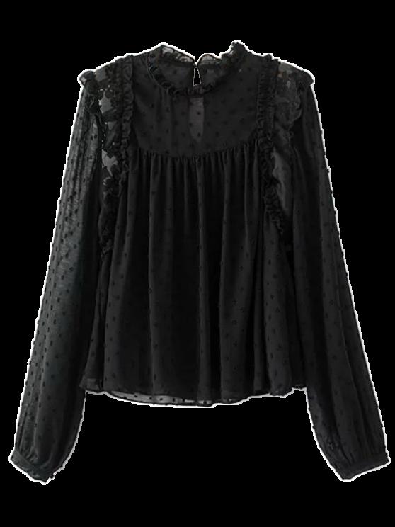 chic Ruffles See-Through Blouse - BLACK M