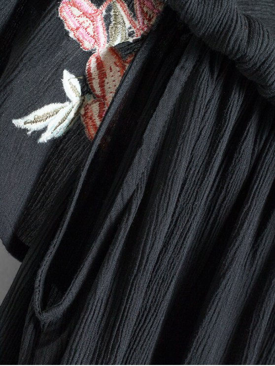 Floral Embroidered Off The Shoulder Top - BLACK M Mobile