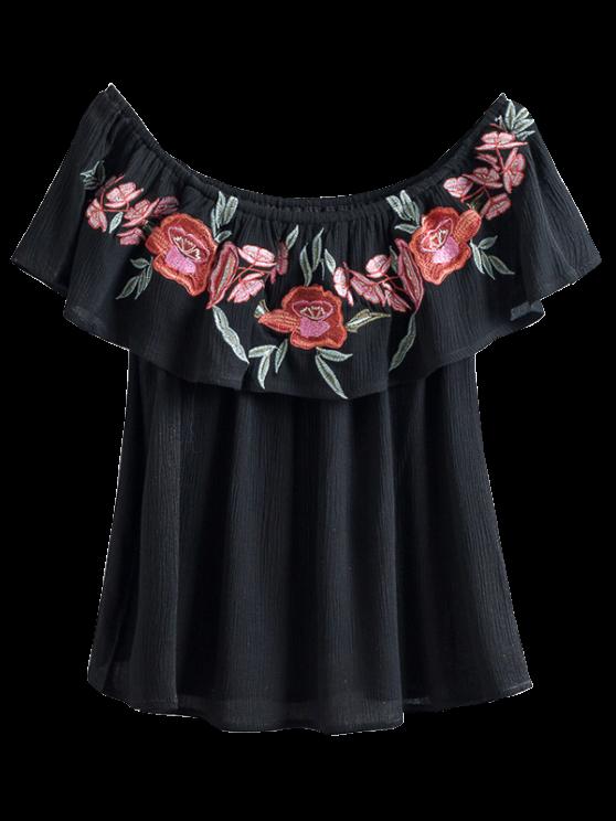 Floral Embroidered Off The Shoulder Top - BLACK S Mobile