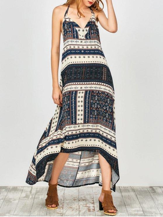 online Printed Halter High Low Dress - CADETBLUE S