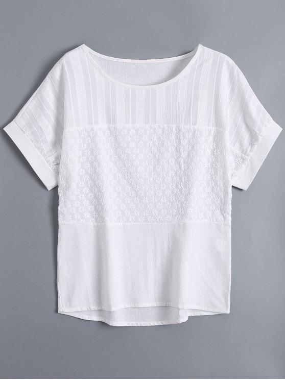 Top brodé à manches courtes - Blanc XL