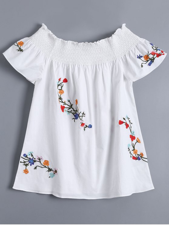 Off Shoulder Flower Embroidered Smocked Top - WHITE S Mobile