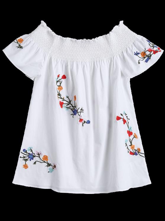 Off Shoulder Flower Embroidered Smocked Top - WHITE L Mobile