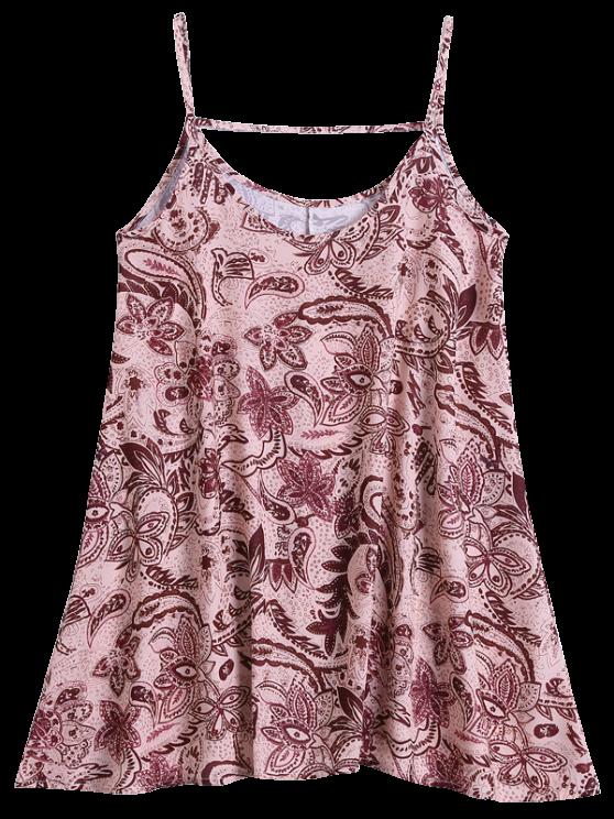 Slip Print Flowy Summer Dress - MULTICOLOR M Mobile