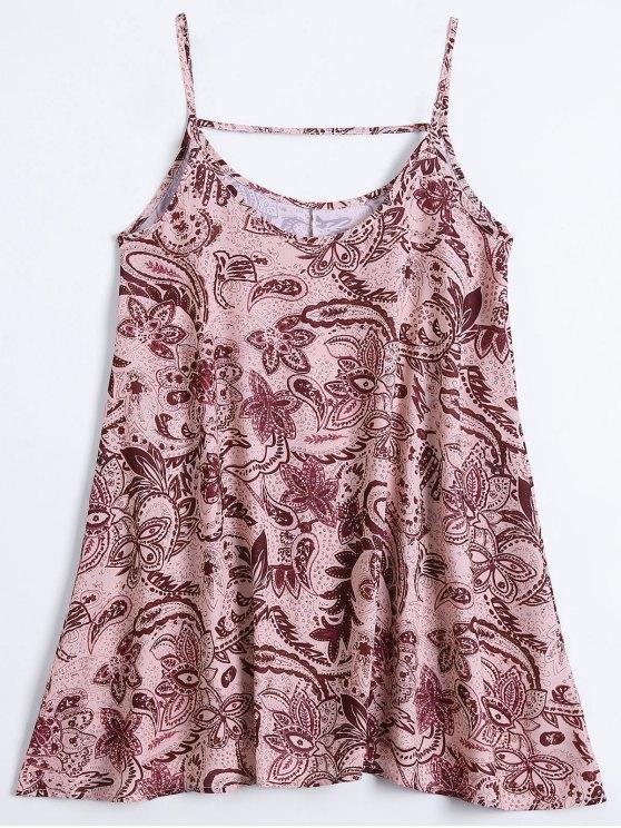 Slip Print Flowy Summer Dress - Multicouleur L