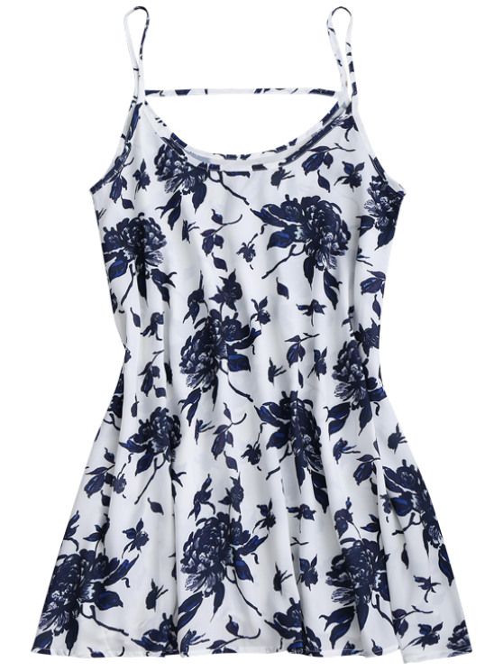Spaghetti Straps Floral Chiffon Flowy Dress - WHITE S Mobile
