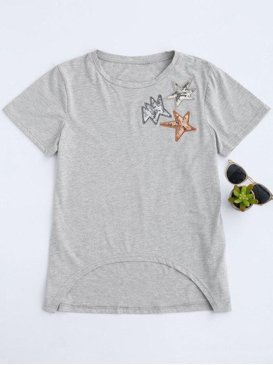 new Dip Hem Sequined Star T-Shirt - GRAY L