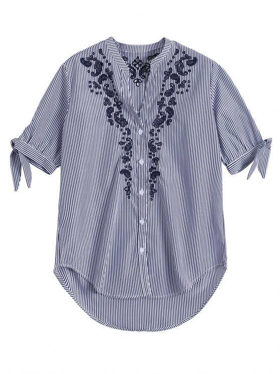 buy Hollow Out Embroidered Striped Shirt - BLUE STRIPE L