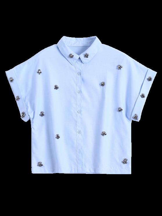 womens Metal Flower Embellished Button Up Shirt - BLUE S