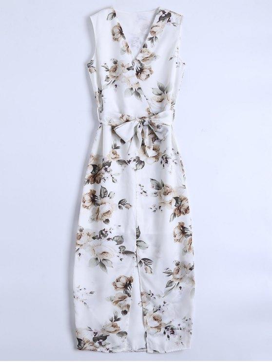 womens Slit Sleeveless V Neck Floral Maxi Dress - WHITE M