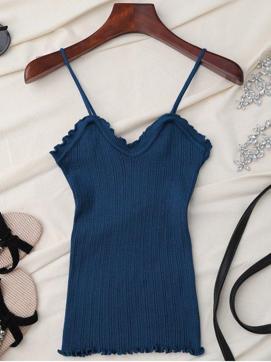 Camiseta sin mangas con volantes - Azul Única Talla