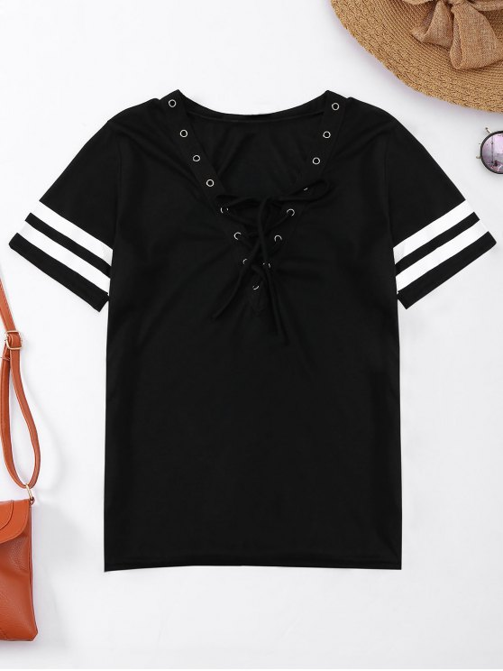 best Lace Up T-Shirt With Stripe - BLACK M