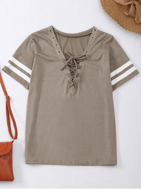 T-shirt à lacets avec rayure - Kaki S
