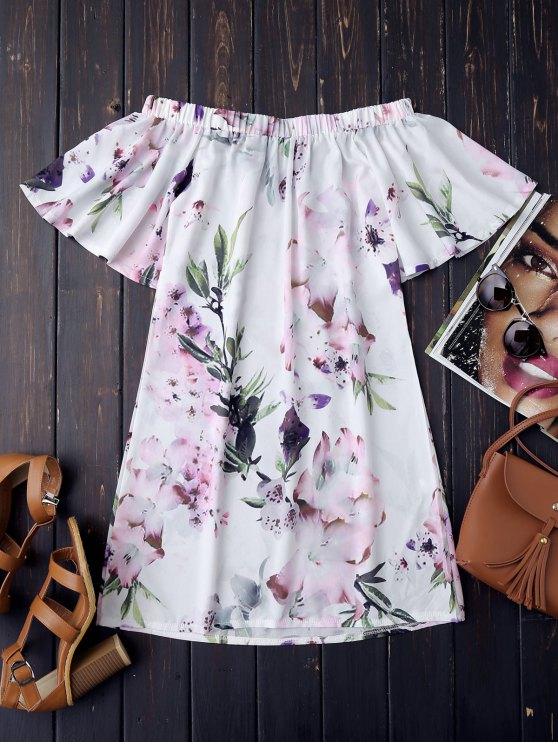 Vestido Retro De Flores Con Hombros Al Aire