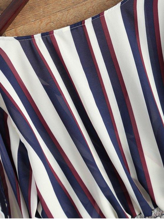 Striped Slit Sleeve Cropped Surplice Blouse - STRIPE M Mobile