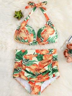 Floral Ruched High Waist Halter Bikini Set - Orange Red M