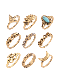 Artificial Turquoise Moon Elephant Alloy Ring Set - Golden