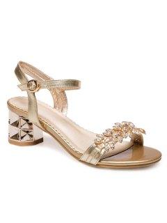 Mid Heel PU Leather Sandals - Golden 37