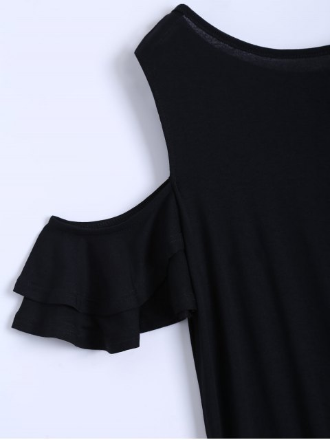 hot Cold Shoulder Ruffle T-Shirt Dress - BLACK S Mobile