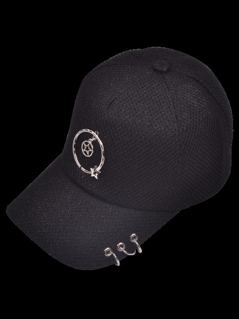 lady Metallic Pentagram Circles Baseball Hat - BLACK  Mobile