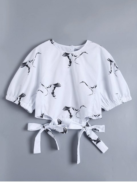 outfits Chinese Painting Crane Knot Side Blouse - WHITE L Mobile