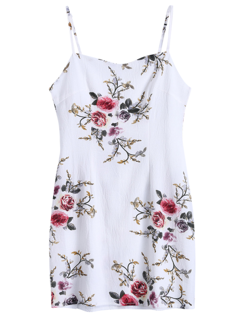 unique Slip Floral Slinky Summer Dress - WHITE M Mobile
