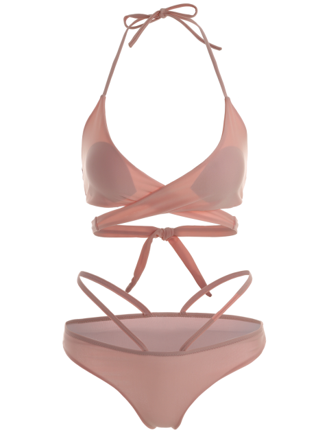 womens Double Side Crossover Bikini Swimwear - PINK M Mobile