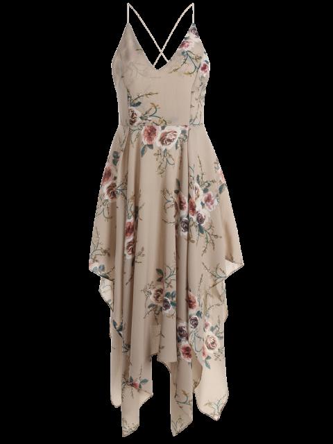 latest Floral Maxi Handkerchief Casual Slip Dress - APRICOT XL Mobile