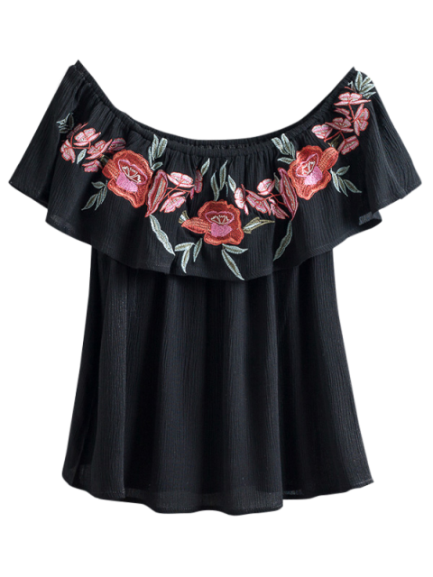 hot Floral Embroidered Off The Shoulder Top - BLACK M Mobile