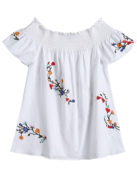 chic Off Shoulder Flower Embroidered Smocked Top - WHITE S Mobile