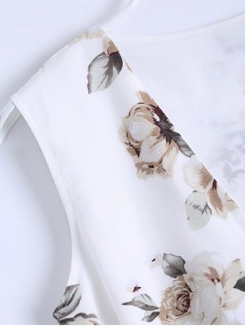 women Slit Sleeveless V Neck Floral Maxi Dress - WHITE L Mobile