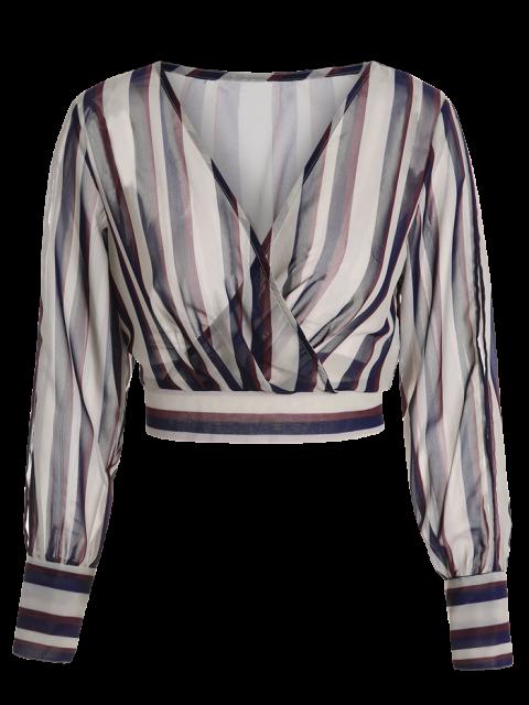 new Striped Slit Sleeve Cropped Surplice Blouse - STRIPE 2XL Mobile