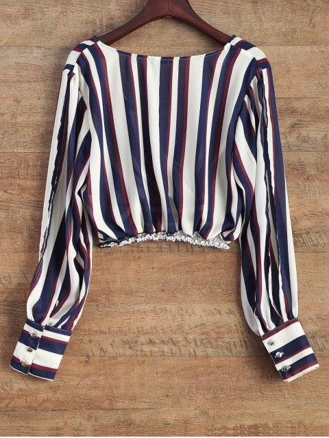 hot Striped Slit Sleeve Cropped Surplice Blouse - STRIPE XL Mobile