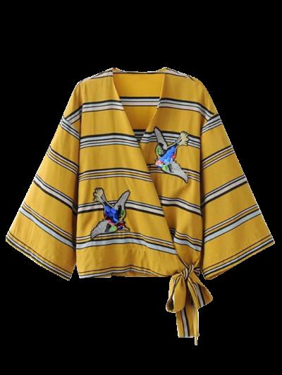 مصبوغ المشارب التفاف بلوزة - الأصفر L