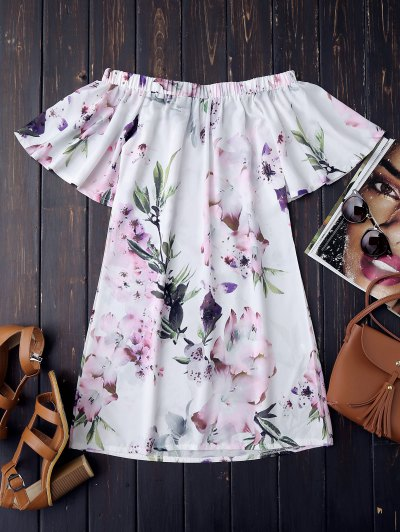 Off The Shoulder Flower Vintage Dress - White