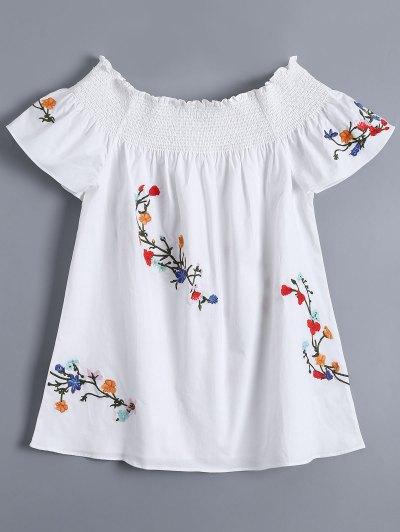 Off Shoulder Flower Embroidered Smocked Top - White