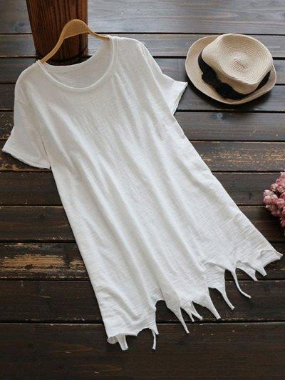 Ripped Hem Short Sleeve Tunic T-Shirt - White