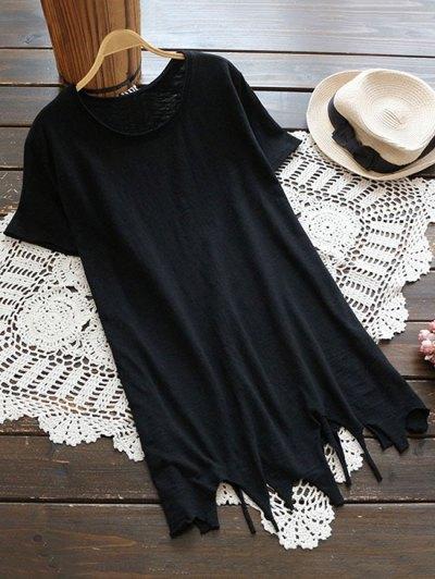 Ripped Hem Short Sleeve Tunic T-Shirt - Black