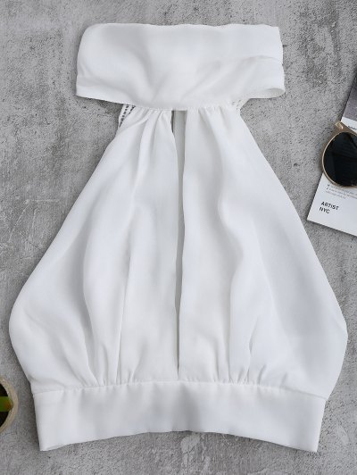Bowknot Lace Trim Crop Top - White