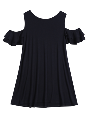 Cold Shoulder Ruffle T-Shirt Dress - Black