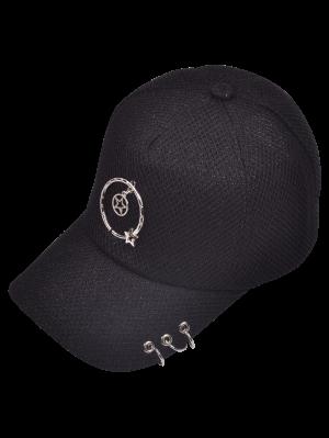 Metallic Pentagram Circles Baseball Hat - Black