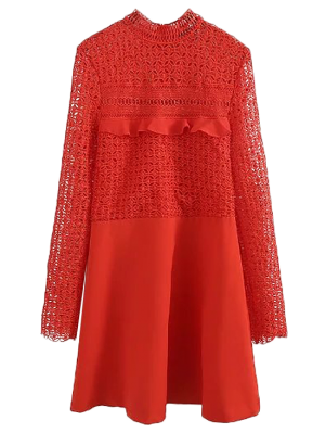 Lace Panel Cut Out A-line Dress - Red