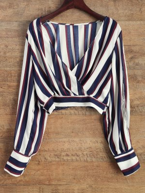 Striped Slit Sleeve Cropped Surplice Blouse