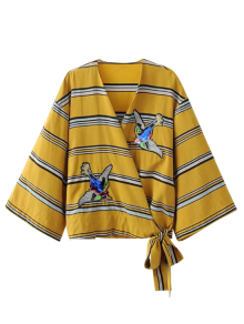 Patched Stripes Wrap Blouse - Yellow