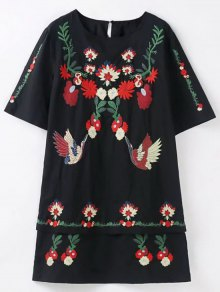 Loose Floral Embroidered Straight Dress With Cami Dress - Black
