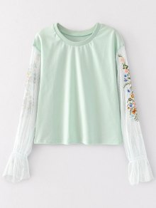 Mesh Panel Floral Embroidered Top - Light Green