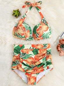 Traje De Bikini De Halter Con Cintura Alta Con Volantes Con Estampado Floral - Rojo, Naranja, L