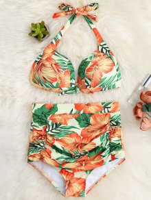 Floral Ruched High Waist Halter Bikini Set - Orange Red M